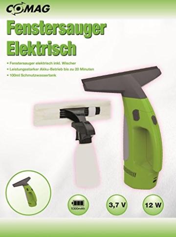Comag elektrischer Fenstersauger Fensterreiniger inkl. waschbarem Microfaser-Wischbezug + Wischer + Sprühflasche (12W, 3,7V, 1300mAh) grün -